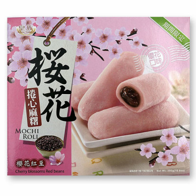 Mochi - sticky rice cake roll - red bone (cherry blossoms) in gift box 300g