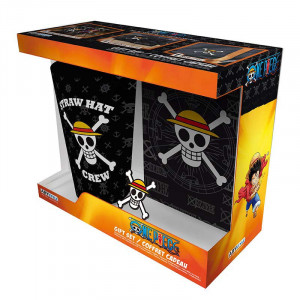 One Piece - 400ml Glas, Button, Notizbuch - Geschenk-Box