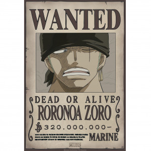 One Piece - Wanted Zoro New - 52x35 Chibi-Poster