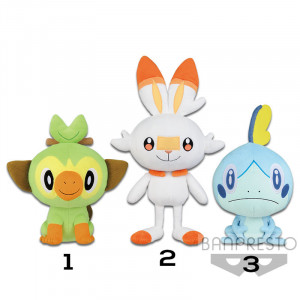 Pokemon - Sword and Shield Starter Pokemon - Grookey, Scorbunny and Sobble - 20 cm Plush