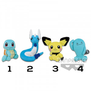 Pokemon - Squirtle, Dragonair, Pichu and Wobbuffet 15 cm Plush