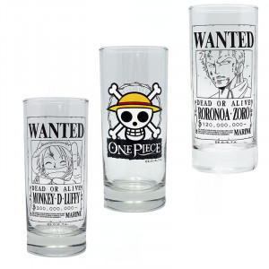 One Piece - Luffy, Zoro, Strawhat - 290ml Glas Set