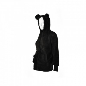 Fur jacket / hoodie black with ears