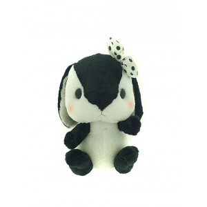 Amuse Amufun - Pote Usa Loppy -  Black and white rabbit with white bow - 30cm Plush