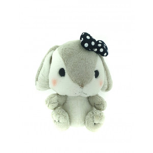 Amuse Amufun - Pote Usa Loppy -  Grey and white rabbit with black bow - 30cm Plush
