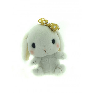 Amuse Amufun - Pote Usa Loppy -  White rabbit with gold bow - 30cm Plush