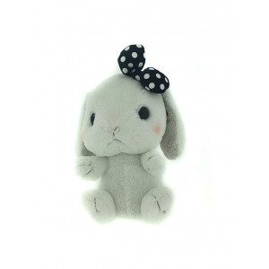 Amuse Amufun - Pote Usa Loppy -  White rabbit with black bow - 30cm Plush