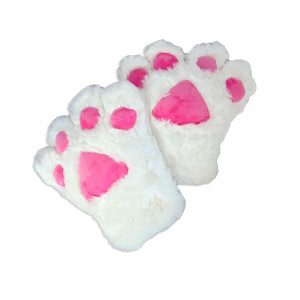 Catgirl cats paws pair (2 cosplay gloves white)