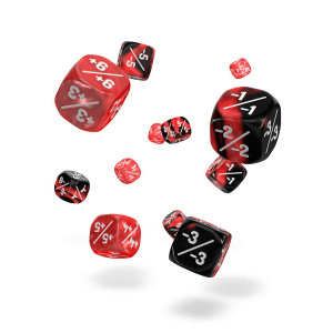 Oakie Doakie Dice D6 Dice 12 mm Marble/Gemidice Positive & Negative - Red (14)