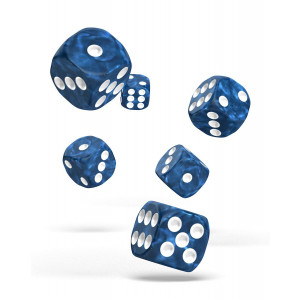 Oakie Doakie Dice D6 Dice 16 mm Marble - Blue (12)