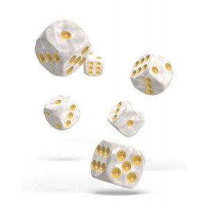 Oakie Doakie Dice D6 Dice 16 mm Marble - White (12)